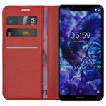 Leather Wallet Case & Card Slot Holder for Nokia 5.1 Plus - Red